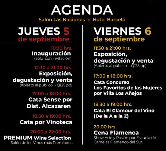 Agenda del 4to Festival de vino y gastronomía española en Guatemala